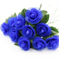 蓝色妖姬玫瑰花材料包套装 丝袜花材料制作套装 丝网花手工DIY制作 弹力袜新手材料包 花艺材料包 10朵材料包套装