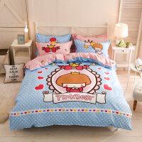 御目 儿童床品 四件套可爱卡通时尚透气1.8m床单被套1.5宝宝小孩床笠学生宿舍被罩枕套三件套床上用品套件