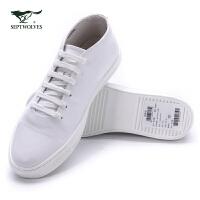 七匹狼休闲鞋 男鞋夏季男士皮鞋系带圆头牛皮青年鞋子 105737