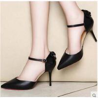 百年纪念一字扣高跟鞋女秋新款冬细跟浅口单鞋英伦性感女鞋子1391