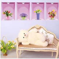 3d立体墙贴纸卧室床头贴画温馨餐厅客厅沙发背景墙装饰品仿真花瓶