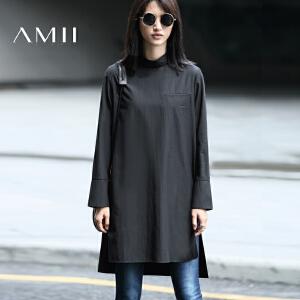 【AMII超级大牌日】[极简主义]2017年春前短后长黑色立领宽松中长款衬衫女11693274
