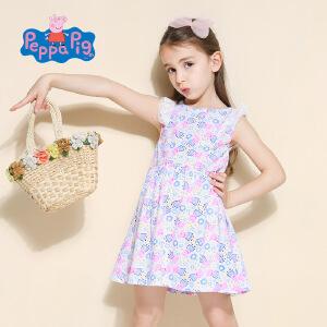 [满200减100]小猪佩奇正版童装女童夏装时尚满印小猪纯棉百褶连衣裙公主裙