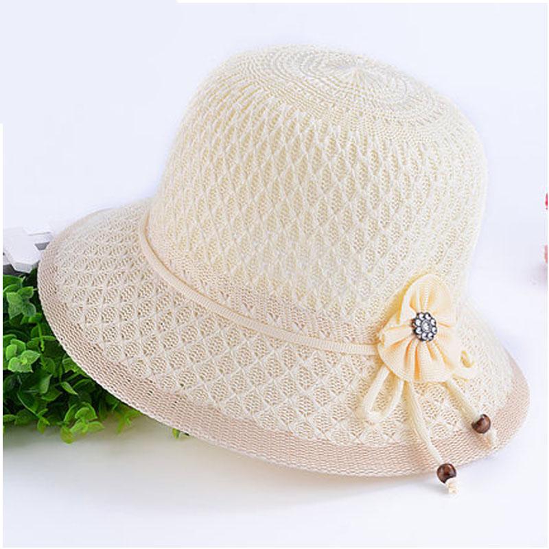 夏天中老年人帽子女士妈妈帽大檐遮阳盆帽编织帽网眼太阳凉帽_米色,56