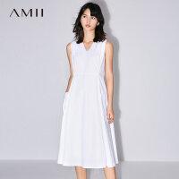 Amii[极简主义]2017夏装新款简洁V领口袋棉质无袖连衣裙11782739