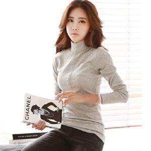 2017新款韩版中高领打底衫女半高领长袖t恤女装修身显瘦百搭上衣HN6683