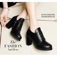 古奇天伦高跟鞋粗跟新款百搭韩版春季红色单鞋黑色英伦风女鞋F7885