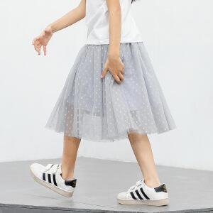 amii童装2017春装新款女童网纱半身裙中大童儿童波点蓬松裙子