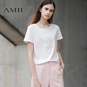 Amii[极简主义]2017夏季新款直筒宽松圆领珠片绣花休闲短袖T恤女