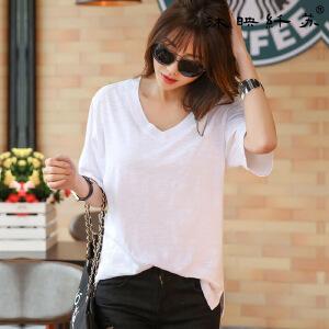 韩版短袖女t恤 宽松显瘦百搭纯色日韩版短袖雪纺圆领T恤BB1697