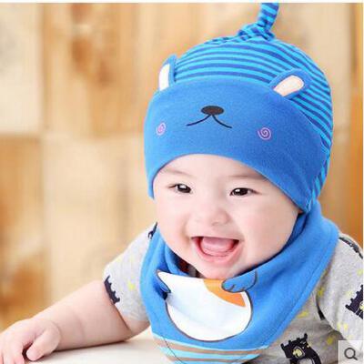 男女童帽子三角巾套装 宝宝韩版潮帽三角巾套装 婴儿帽子男女宝宝套头