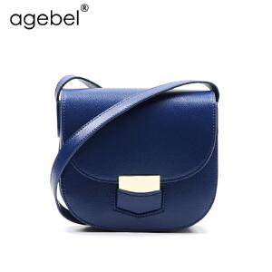 艾吉贝2017新款牛皮马鞍包斜挎小圆包简约时尚单肩斜跨女包小包包