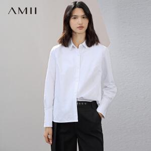 Amii[极简主义]2017春新简洁通勤百搭翻领棉质开叉衬衫女11730444