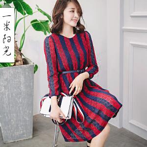一米阳光2017春款韩版蕾丝连衣裙条纹圆领衬衫裙长袖女