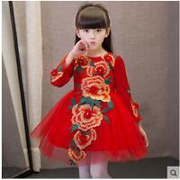 简约时尚圆领精致刺绣中国风女童旗袍花童蓬蓬裙甜美可爱短裙儿童礼服公主裙