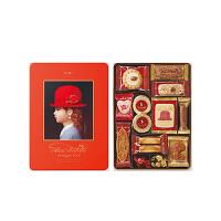 【年货】红帽子什锦曲奇饼干新年礼盒 橘色礼盒215g 日本进口休闲零食巧克力糖果伴手礼