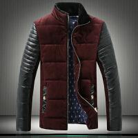 秋冬男士韩版修身短款拼接皮袖毛领立领加厚棉服大码男士棉衣