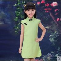 中式女童亚麻旗袍 儿童小女孩短袖唐装 女孩复古大童 民国风儿童裙子装支持礼品卡支付