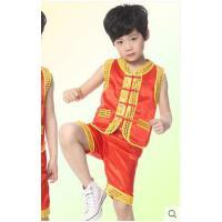 表演服装幼儿名族舞台舞蹈女童 演出服男童武术服功夫衫练功服
