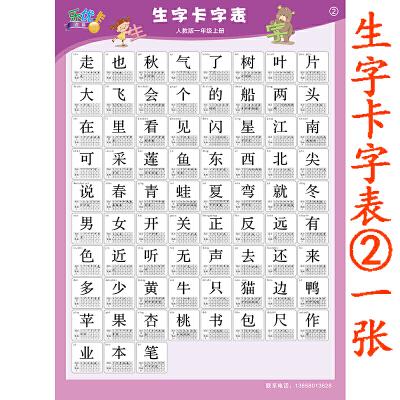 印刷体手写儿童一年级小学生幼儿园学前班墙贴画_生字卡字挂图②一张