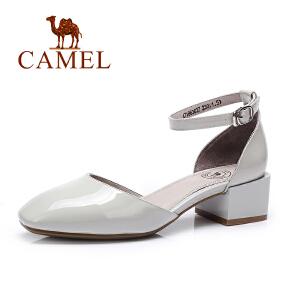 camel骆驼女鞋 2017春夏新款 韩版时尚 方头粗跟优雅单鞋女