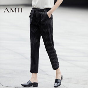 Amii[极简主义]2017春新通勤宽松配腰带条纹休闲九分长裤11770104