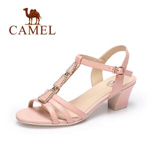 Camel/骆驼女鞋2017春夏新品优雅时尚皮带扣女鞋水钻凉鞋