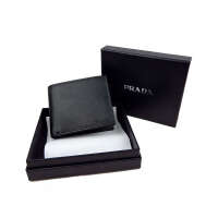 Prada黑色十字纹短款钱包 2M0912 10*8