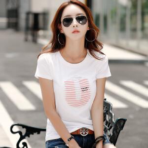 2017夏季新款女装上衣韩版体恤修身棉质短袖T恤女打底半袖上衣潮