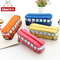 umi韩国创意学生文具小动物巴士笔袋 公交铅笔盒 男女帆布文具盒