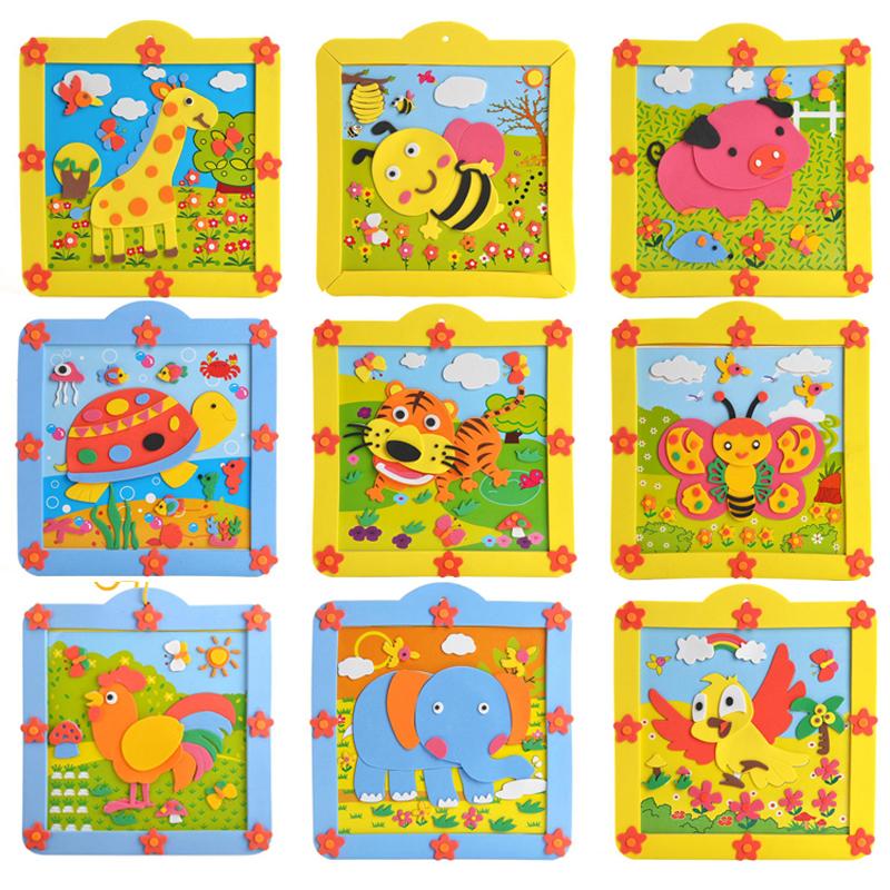 孩派eva儿童贴画手工制作方形圆形相框贴画材料包 12款小相框_5款随机