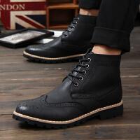 新款英伦时尚男士高帮布洛克皮鞋 真皮雕花牛皮尖头系带男鞋