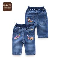【200-100】binpaw夏季新款女童牛仔五分裤百搭休闲中大童宝宝儿童短裤