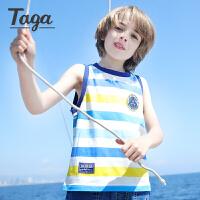 【满200-100】TAGA童装 男童坎肩背心7-8岁儿童时尚满印上衣棉2017夏季新款