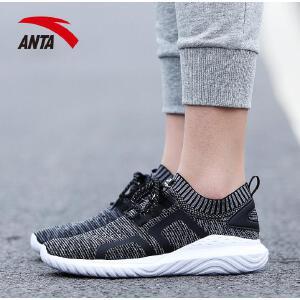 安踏女鞋休闲鞋2017秋季新款透气跑步袜子鞋网面运动鞋12728828