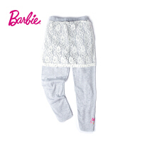 Barbie芭比女童装春季新款蕾丝拼接印花松紧腰打底运动裤休闲长裤