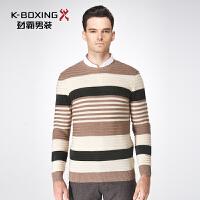 劲霸男装2016冬季男士商务拼色套头针织衫圆领羊毛衫青年毛衣修身