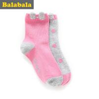 巴拉巴拉童装女童袜子中小童童袜2017春季新款袜儿童棉袜女2双装