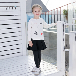 amii童装2017春夏新款女童印花T恤中大童儿童假两件裤裙套装