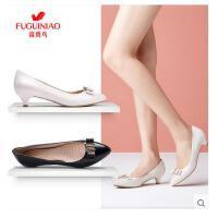 富贵鸟女鞋春季新品低跟浅口单鞋女真皮尖头蝴蝶结休闲鞋子F706163K