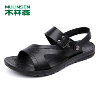 木林森男凉鞋 夏季新款真皮套脚耐磨沙滩鞋时尚男凉鞋05267721