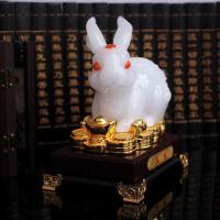 兔子生肖摆件招财玉兔中式复古创意玄关酒柜摆设十二生肖 装家居装饰品送女友生日礼物