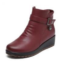 中老年短靴妈妈鞋棉鞋 防滑棉靴 加绒坡跟 保暖冬季中年女鞋