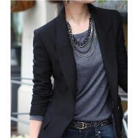 韩版百搭清新休闲大码短款长袖西服小西装外套女士韩版显瘦