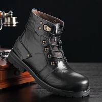 秋冬马丁靴男真皮靴子短靴英伦系带沙漠军靴工装鞋加绒保暖棉靴子