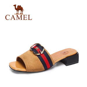 camel骆驼女鞋 夏季新款 优雅淑女凉拖 复古英伦风方跟拖鞋