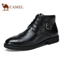 camel骆驼男靴 冬季新品 高帮男靴鳄鱼纹皮鞋复古男士皮靴子