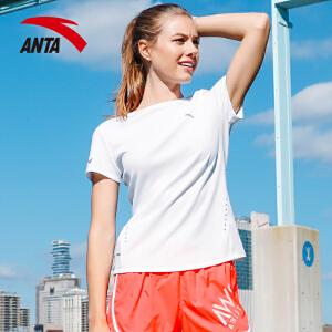 安踏女装运动短袖 2017夏季新款透气针织百搭女子运动T恤16725141