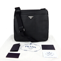 Prada荔枝纹金属标志男士单肩包 2VH019 黑色29*27*5.5