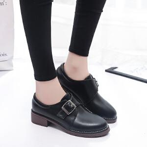 2017春秋季新款粗跟女鞋英伦学院风休闲小皮鞋中跟圆头百搭学生单鞋ZR-A78